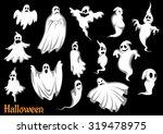 eerie flying halloween ghosts...