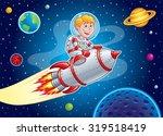rocket kid blasting through... | Shutterstock .eps vector #319518419