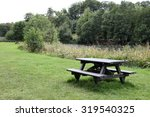 Picnic Table On Grass Near...