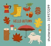 colorful autumn icon and... | Shutterstock .eps vector #319572299