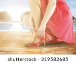 woman in red dress  | Shutterstock . vector #319582685