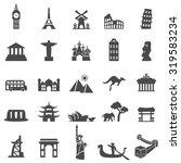 travel landmarks black icon set | Shutterstock .eps vector #319583234