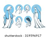 vector illustrations of praying virgin Mary