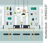 flat design interior dining... | Shutterstock .eps vector #319602137