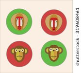 flat icons with monkey faces