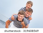 portrait of three happy... | Shutterstock . vector #319608569