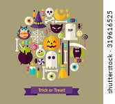 vector flat style trick or... | Shutterstock .eps vector #319616525