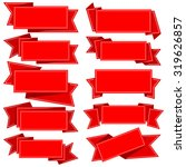 big collection red ribbon with...   Shutterstock .eps vector #319626857