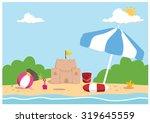 seaside background | Shutterstock .eps vector #319645559