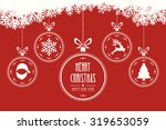 christmas balls hanging red... | Shutterstock .eps vector #319653059
