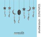 doodle star and moon.doodle art.... | Shutterstock .eps vector #319676921