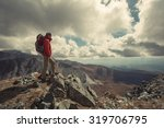 tourist hiker man with backpack ... | Shutterstock . vector #319706795