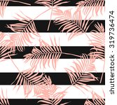 Contemporary geometric fashion print with palm leaves and stripes in vector .Abstract wallpaper pattern