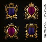 set of golden royal shields for ...   Shutterstock .eps vector #319754285