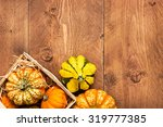 Colorful Pumpkins On Wooden...