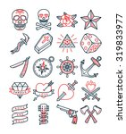 old school tattoo set | Shutterstock .eps vector #319833977