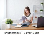 businesswoman with laptop and... | Shutterstock . vector #319842185