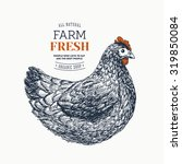 farm fresh eggs design template.... | Shutterstock .eps vector #319850084