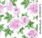delicate pink roses. watercolor ... | Shutterstock . vector #319853471