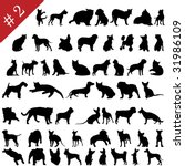 Stock vector set of different vector pets silhouettes for design use 31986109