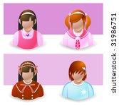people icon : girl and teenage - stock vector
