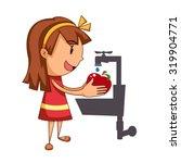 girl washing fruit  vector...   Shutterstock .eps vector #319904771