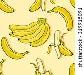 vector cartoon banana background | Shutterstock .eps vector #319915091