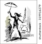 fashion girl in sketch style | Shutterstock .eps vector #319916279