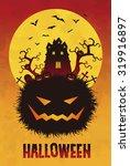 spooky halloween illustration... | Shutterstock .eps vector #319916897