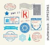 christmas stamps set | Shutterstock .eps vector #319923461