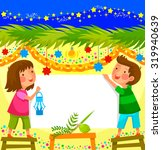 kids celebrating sukkoth in a... | Shutterstock .eps vector #319940639