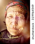 Small photo of Mongolian Woman Traditional Dress Tranquil Solitude Concept
