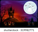halloween pumpkins on graveyard ... | Shutterstock .eps vector #319982771