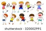 boys doing different activities ... | Shutterstock .eps vector #320002991