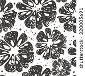 Citrus Seamless Pattern. Black...