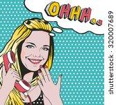 Confused Blonde Pop Art Woman...