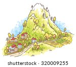 cartoon town at the foot of the ... | Shutterstock .eps vector #320009255
