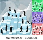 Conceptual piece. Business people building with blocks representing an organisation. Main image on separate layers for easy editing. Also includes several different colour versions - stock vector