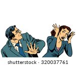 man and woman escape the panic... | Shutterstock .eps vector #320037761