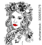 model with floral wreath.... | Shutterstock .eps vector #320053175