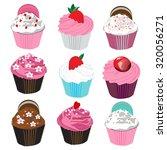 set of different  cupcake.... | Shutterstock .eps vector #320056271