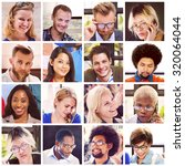 collage diverse faces group... | Shutterstock . vector #320064044