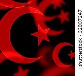 red islamic symbols on a black... | Shutterstock . vector #32007247
