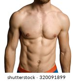 male chest over grey background | Shutterstock . vector #320091899