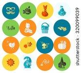 set of flat autumn icons.... | Shutterstock . vector #320099039