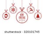 christmas ball red white... | Shutterstock .eps vector #320101745