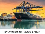 cargo ship loading containers... | Shutterstock . vector #320117834