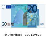 twenty euro banknote on a white ... | Shutterstock .eps vector #320119529