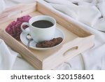 wooden tray with a cup of... | Shutterstock . vector #320158601