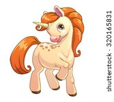 cute cartoon standing unicorn ... | Shutterstock .eps vector #320165831